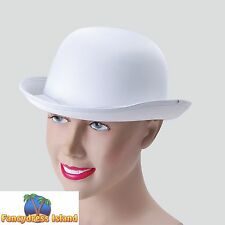 OLD ENGLAND SATIN LOOK WHITE BOWLER HAT - mens fancy dress costume accessory