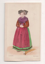 Vintage CDV Handpainted Lady Alsace France Traditional National Costume