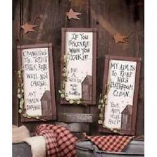 3 OUTHOUSE WOOD~PRIMITIVE BATHROOM SIGNS Wall Decor with HANGERS RUSTIC STARS