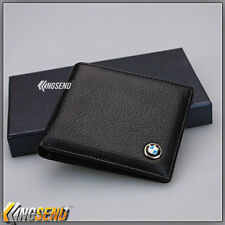 new BMW Genuine 100% Cow Leather Bifold Wallet Men Slim Purse Car Pouch Gift Boy