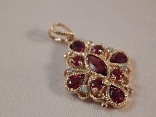 Genuine 9ct Yellow Gold Hessonite Garnet and Diamond    wife Valentine Gift Love