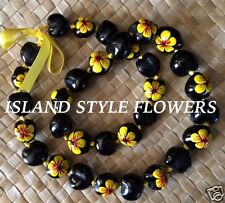 Hawaii Wedding YELLOW BLACK Kukui Nut Lei Graduation Luau Hula Necklace Hibiscus