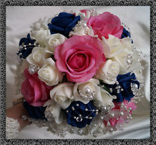 Bridal Posy Bouquet  Navy Blue and Ivory/pink Roses  with crystal flowers