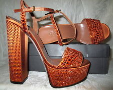 Sexy New GUCCI Orange Crystal Platform Sandals 37.5 7.5 $2185 Beyonce