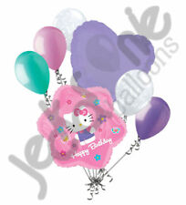 7 pc Hello Kitty Pink Flower Happy Birthday Balloon Bouquet Decoration Savario