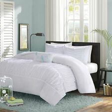 BEAUTIFUL 4 PC SOFT BLUE TEAL WHITE RUSHED TEXTURED RUFFLED GIRL DUVET COVER SET