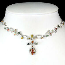82 CTS!! DELUXE! NATURAL AAA FANCY MULTI COLOR SAPPHIRE SILVER NECKLACE 17 1/2""