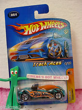 2005 Hot Wheels POWER PIPES #064/64❊Transparent BLUE w/orange❊4/10 TRACK ACES