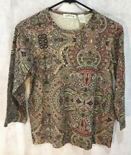 Women's ORVIS Multi-Color Paisley 100% Cotton Pullover Blouse Top - Size Small