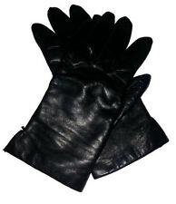Vintage Fownes Ladies Leather, Acrylic Lined Driving Gloves, Size 7 Black
