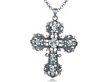 Lady Silver Clear Crystal Rhinestone Intricate Detail Cross Pendant Necklace
