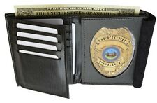 Marshal Leather Bifold Badge Wallet ID-Heart-Shaped Badge-Police-Sheriff #2516TA