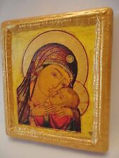 Madonna and Child Virgin Mary Jesus Ecclesiastical Russian Orthodox Icon on Wood