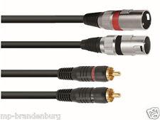 Adapter Kabel 2 x Chinch auf  2 x XLR -3m - Chinchstecker aus Kuststoff