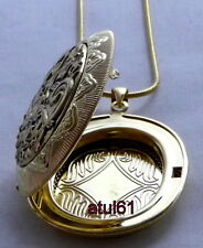OVAL SHAPED BIG DOUBLE SIDED LOCKET PENDANT NECKLACE SILVER PLATED VINTAGE CHAIN