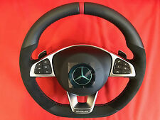 AMG Mercedes-Benz C Class steering wheel black,red stitches with pedals