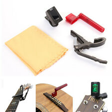 Professional Guitar Clip-on Electric Tuner Capo Winder Cleaning Cloth Accessory