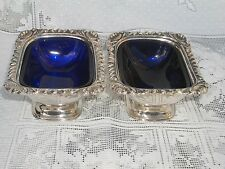 Pair Of Antique Silver Plate Salts With Blue Glass Liners Ellis Barker 1912