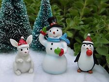Miniature Dollhouse FAIRY GARDEN ~ North Pole CHRISTMAS Penguin SNOWMAN Rabbit