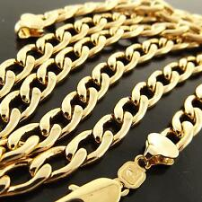 A166 GENUINE REAL 18K YELLOW GOLD G/F SOLID MENS CUBAN CURB LINK NECKLACE CHAIN