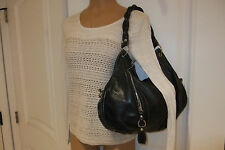 "Veggio Cuero Vaca Argentina Vintage Black Leather Hobo Handbag, 16"" x 11"""