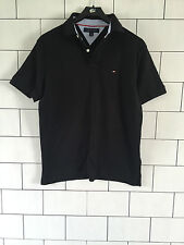 MENS URBAN VINTAGE RETRO TOMMY HILFIGER SHORT SLEEVE BLACK POLO TOP SIZE SMALL