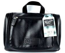 NWT PENGUIN Mens BLACK Leather Hanging Toiletry Travel Shave Kit Bag MUNSINGWEAR
