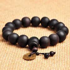 Black Wood Beads Tibet Buddhist Prayer Bracelet Mala 11mm Shamballa Jewelry Rope