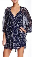 NWT $398 DIANE VON FURSTENBERG DVF Fleurette Dress Snake Check Midnight, Sz 8