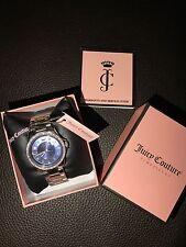 New NIB Juicy Couture Purple Violet Swarovski Crystals Silver Steel Watch RARE