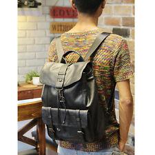 Men's Leather Vintage Backpack Bag Black Messenger Bags Rucksack Sling Bag