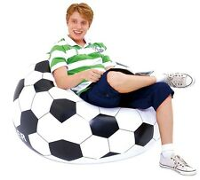 Single Inflatable Sofa Football Soccer Chair Bench Durable Camping + Foot Pump