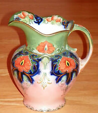 Antique Albion Pottery Truro Water Pitcher, Green, Pink, Orange & Blue w/ Gold
