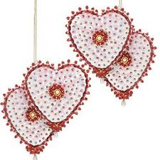"""Entwined Hearts"" kit makes 2 Ornaments Sequin Beads Christmas Craft NEW"