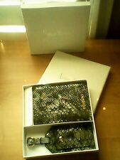Neiman Marcus Passport Cover and Luggage Tag with Gift Box,alligator skin look