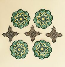 Teal And Yellow Flower medallions  - Iron On Fabric Appliques