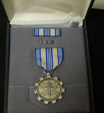 """AIR FORCE """"MERITORIOUS ACHIEVEMENT"""" MEDAL RIBBON & LAPEL PIN IN CASE"""