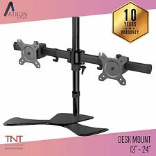 """Dual Monitor Mount Fully Adjustable Desk Free Stand for 2 LCD Screens up to 24"""""""