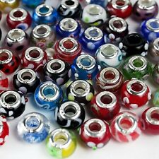 50 Piece Lot Lampwork Murano Glass European Mix Beads B6X9 Valentines Gifts