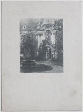 Original Vintage 1920s bromoil churchyard, pictorialism