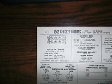 1966 Checker Motors EIGHT Series A11 A12-A12W Models 327 CI V8 Tune Up Chart