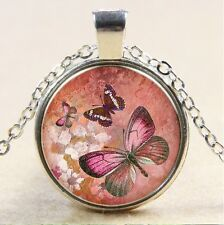 Vintage Butterfly Cabochon Tibetan silver Glass Chain Pendant Necklace #141