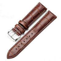 Genuine Leather Watch Band Strap Black/Brown Women Men Stainless Steel Buckle UK