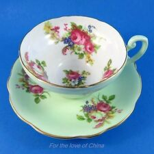 Pretty Floral Bouquet on Light Green Foley Tea Cup and Saucer Set