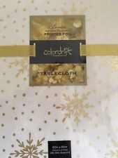 "Colordrift Printed Gold Foil Tablecloth Christmas Holiday 60"" x 84"" New Years"