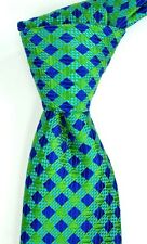 NWT Ted Baker London Textured Blue Navy & Green Check Silk Neck Tie USA