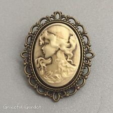 Graceful Garden Victorian Style Antique Bronze Tone Small Lady Cameo Brooch