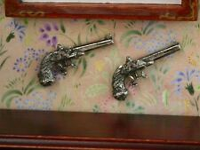 Pair Of Antique Duelling Pistols, Doll House 1.12 Scale Miniatures