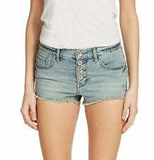 NWT FREE PEOPLE Sz26 CUT OFF  DISTRESSED  COTTON SHORT LIGHT BLUE  $68.