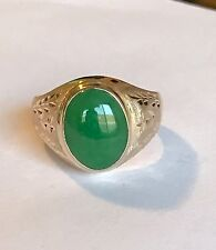 Green Jade In 18k Gold Men's Ring Size 10